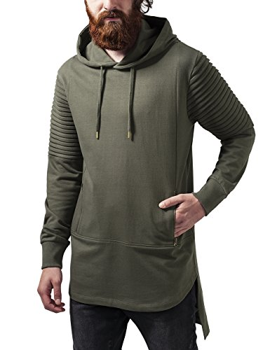 Urban Classics Pleat Sleeves Terry Hilo Hoody, Felpa Uomo, Grün (Olive 176), Medium