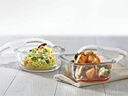 Borosil Klip & Store Glass Container Set, Set of 2, Clear