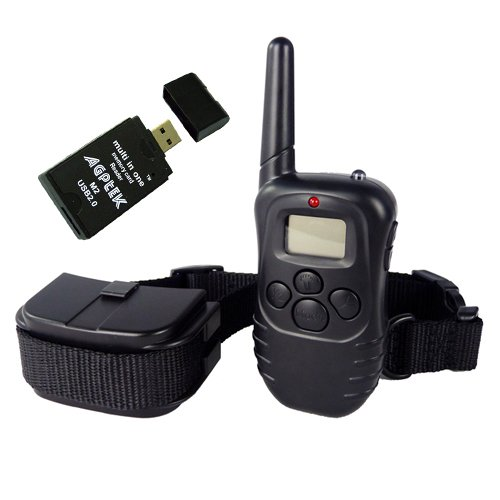 Remote Pet Trainer Lcd Display Dog Electric Training Collar 100 Level Shock Vibration W/Agptek Usb 2.0 All-In-One Card Reader