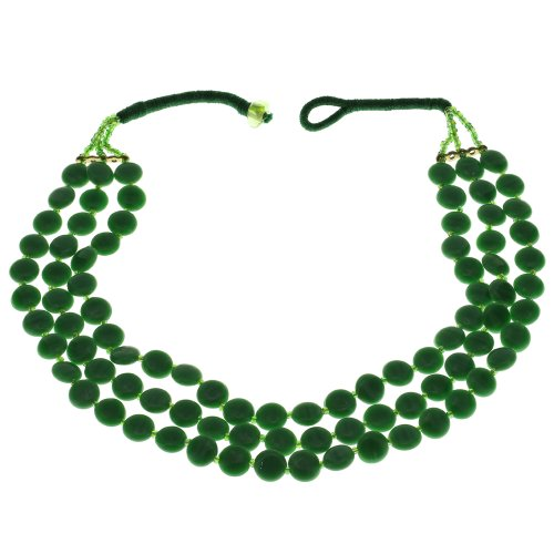 Green Beaded Necklace Indian Handmade Costume Jewelry Fashion