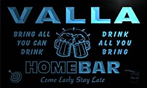 Enseigne Lumineuse q46273-b VALLA Family Name Home Bar Beer Mug Cheers Neon Sign
