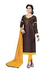 PS ENTERPRISE Dark Brown Cotton Unstitched Dress Material