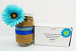Unlocking Greatness Charity Gift Baskets: Cookies, Tea, Coffee and Snacks, Glass Jar with Burlap Gift Set