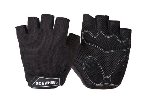 Cosmos ® Black mesh/gel cycling/bike gloves (size:L)+Cosmos cable tie