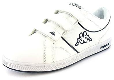 mens white kappa velcro tennis shoes white navy