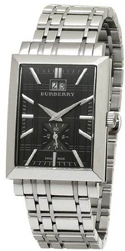 Burberry Heritage Men's Watch with Black Textured Dial, Date Display and Stainless Steel Bracelet BU1320