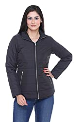 Trufit Full Sleeves Solid Women's Black Polyester Basic Casual Jacket