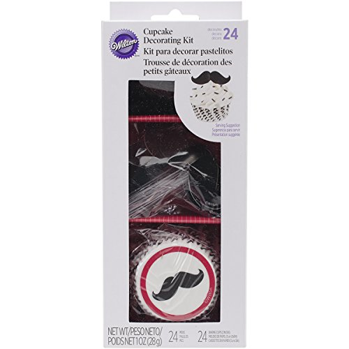 Wilton 415-2532 24 Count Mustache Cupcake Decorating Kit, Assorted - 1