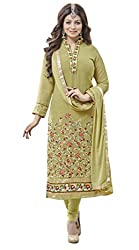 Manthan Green Embroidered Un-Stitched Chudidar Suit