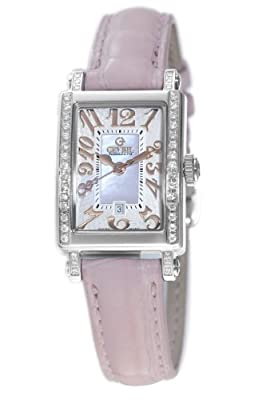 Gevril Women's 8248RE Super Mini Quartz Pink Mother of Pearl Diamond Watch