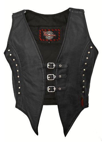 Milwaukee Motorcycle Clothing Company Women's Illusion Vest with 3-Buckle Closure (Black, X-Large)