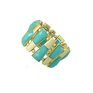 Chic Stretch Bangle Bracelet Gold Tone with Blue Crystals