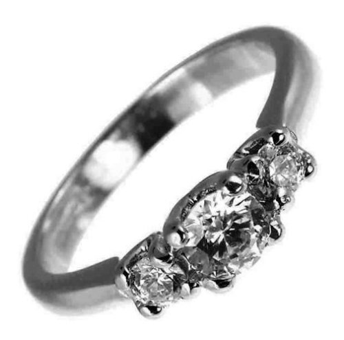 Ladies' Diamond Trilogy Ring, 18 Carat White Gold set with Three Stones, 1/2 Carat Total Diamond Weight