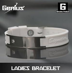 Genius Adjustable Ionic Bracelet with Diamonte - White