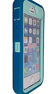 iPhone 5S case,iPhone 5SE case, OKASE(TM) iPhone 5 Durable Dual Layer Hybrid Heavy Duty Armor Protective Shockproof Dustproof Case for iphone 5/5S/5SE [Original Packaging] (Teal on Cyan)