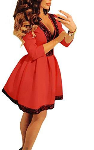 Baymate Donna Del Merletto Maglia Manica Profondità Profondo V Vestito Rosso S