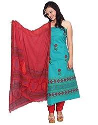 Chhipa 100% cotton Green salwar suit dupptta material