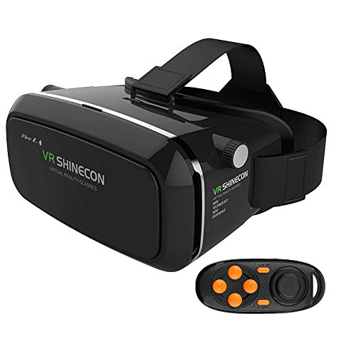 Fire LA 3D VR Virtual Reality Headset 3D Glasses Adjust Cardboard VR BOX For  4.7~6″   Smartphones iPhone 6/6 plus Samsung Galaxy IOS Android Cellphones + Controller(Black)