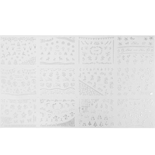 1 Feuille Autocollant Sticker 3D Thème de Noël Nail Art Manucure - d'Argent