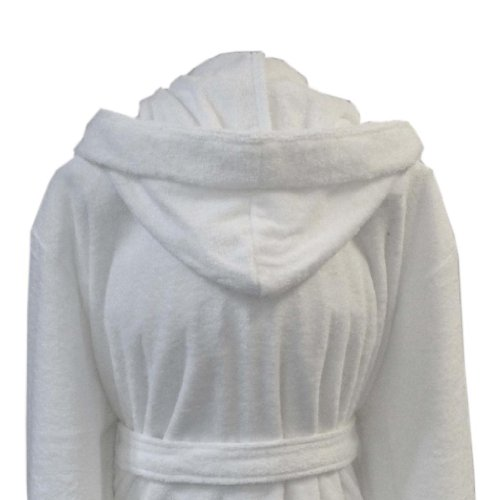 Homescapes XXL Hooded Cotton Bathrobe White, Men's Hooded Bathrobe Terry Towelling Dressing Gown