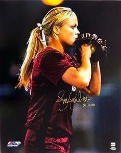Jennie Finch Autographed USA Softball 16x20 Photo Inscribed 04' Gold