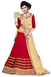 Clickedia Women's Net Red & Beige Lehenga Choli(05 red & beige lehenga)
