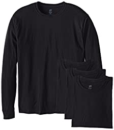 Hanes Men's 4 Pack Long Sleeve Comfortsoft T-Shirt, Black, XX-Large