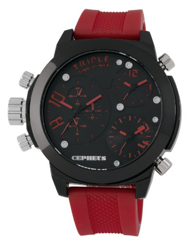 Cepheus Men's Quartz Watch with Black Dial Analogue Display and Red Silicone Strap CP902-624
