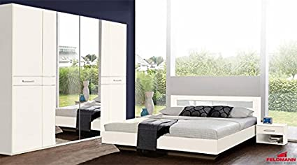 Schlafzimmer komplett 4-teilig 635385 weiß / Weißglas