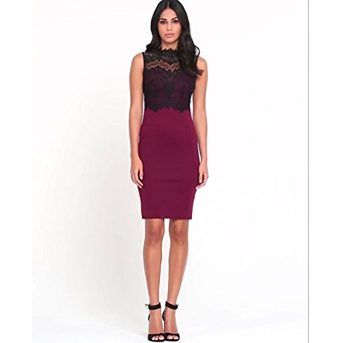 TomYork Burgundy Glamorous Lace Detail Bodycon Dress(Purple,S)