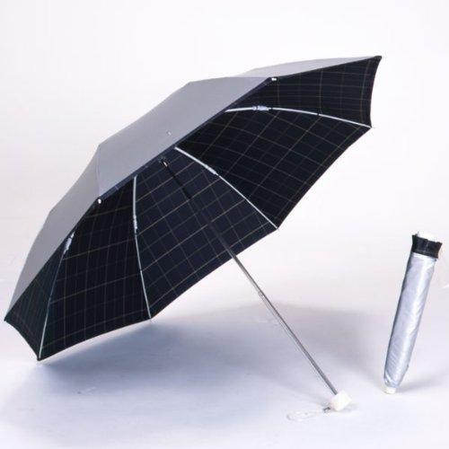 UVカット 晴雨兼用 遮光 日傘/折傘 シルバー/先染チェック [濃紺]<ひんやり傘>