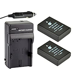 DSTE 2pcs EN-EL14 Li-ion Battery + Charger DC111 for Nikon ENEL14 Compatible With Nikon Coolpix P7000 P7100 P7200 P7700 P7800 D3100 D3200 D5100 D5200 (Fully Decoded)