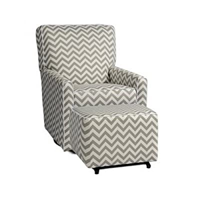 Chevron Zigzag Gray And White Stripe, Swivel Glider And Ottoman,  Upholstered Gliding Chair,