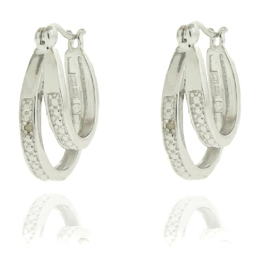 Silver Overlay Diamond Accent Double Hoop Earrings
