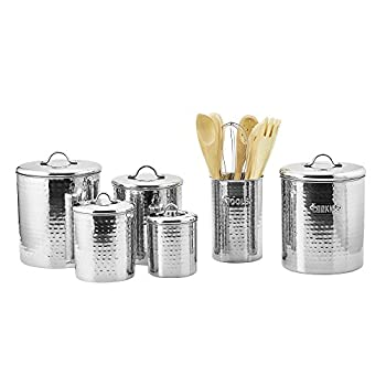 Old Dutch Stainless Steel Hammered 4-Piece Canister Set