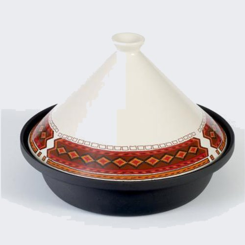 Deep Cast Iron 30cm/2.25L Cooking/Serving Tagine with Ceramic Lid (Ashanti)