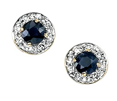 Elements Gold Ladies 9ct Yellow Gold Blue Sapphire and Diamond Round Cluster Stud Earrings