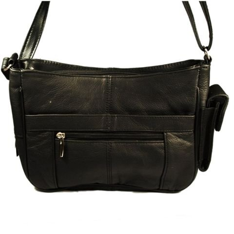 Leather Handbag with Pockets & Cell Phone Holder (Black)