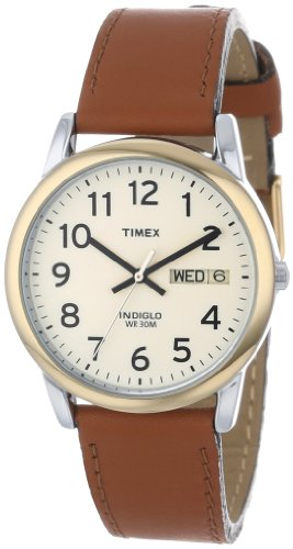 """Timex Men'S T20011 """"Easy Reader"""" Brown Leather Strap Watch front-930415"""