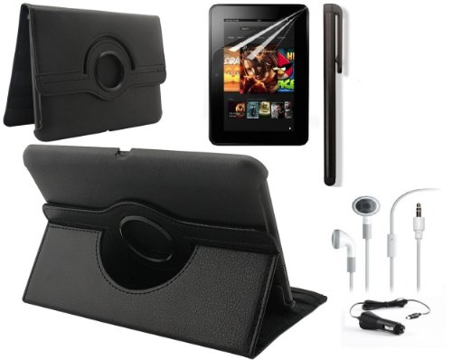 """Ruban (Tm) 360 Rotating Stand Pu Leather Case Cover / Screen Protector / Stylus / Earphone / Car Charger For Kindle Fire Hd 7"""" 2012 Version Tablet (With Smart Cover Function: Automatically Wakes And Puts The Kindle Fire Hd To Sleep) (5In1 Black - Hd 7"""" 20"""
