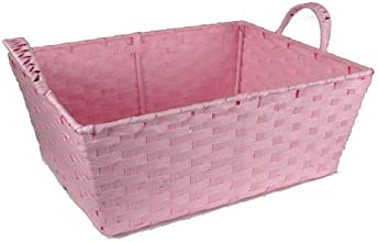 Small Rectangular Paper Fiber Handle Basket - Pink