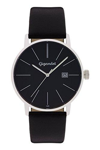 Gigandet Reloj Hombre Cuarzo Minimalism Analógico Correa de Cuero Negro G42-002