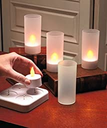 LED Rechargeable Flameless Tea Light Candles with Difused Votives. Set of 4 By Lily's Home