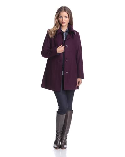 London Fog Women's A-Line Coat  [Plum]