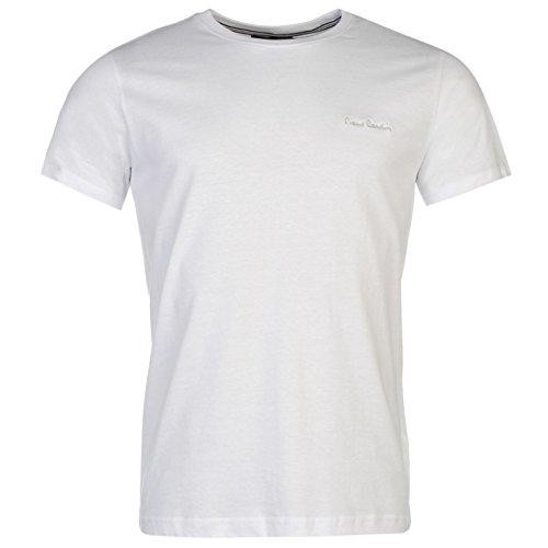 Pierre Cardin Plain T-Shirt da uomo Top bianco maglietta, White, XXS