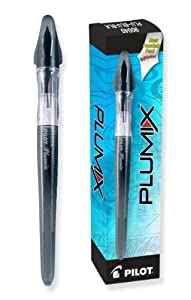 Pilot Plumix Refillable Fountain Pens, Black Barrel, Blue Ink, Medium Nib, 12 Pens and 12 Ink Cartridges (90040)