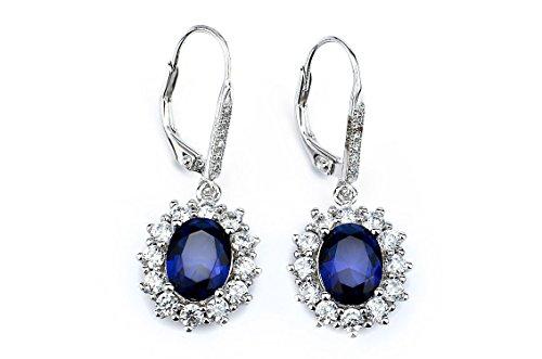 YFN-925-Sterling-Silver-Snowflake-Flower-Blue-Sapphire-White-Cz-Leverback-Dangle-Women-Earring