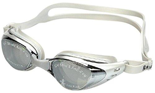 Decus 1 Stk Schwimmbrille in Weiß Erwachsenen Gegen-Fog-Anti UV Schwimmen Gläser Einstellbarer Goggles Adjustable