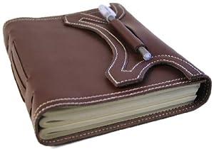 Autor handgemachtes Ledernotizbuch braun, Seiten aus 100% Baumwolle (15cm x 20cm)