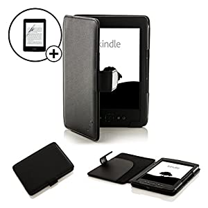 Forefront Cases Leather Case Cover Wallet with Screen Protector for Amazon Kindle 4 - Black